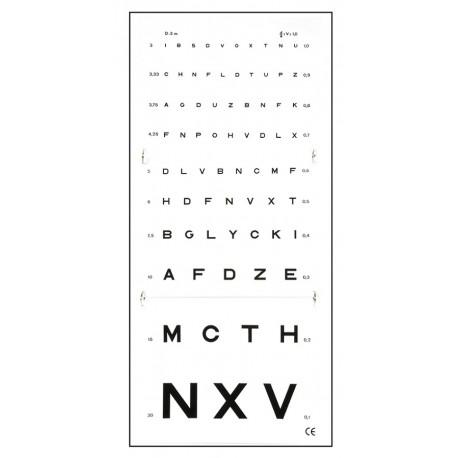 Monoyer - 3 m - synstavle - ophæng