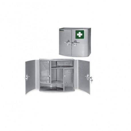Medicinskab med 2 døre, plastik, 38,5 x 18 x 32,5 cm, sølv
