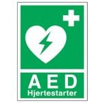 AED/hjertestarter mærkat (A5 størrelse)