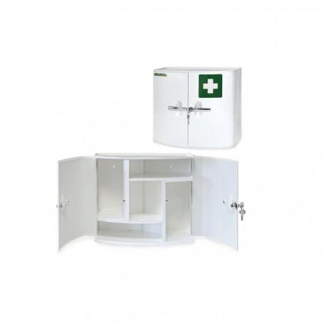 Medicinskab, plastik med 2 døre, 38,5 x 18 x 32,5 cm, hvidt